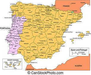 Portogallo Spagna Cartina.Portogallo Spagna Mappa Portogallo Spagna Vettore Mappa Canstock
