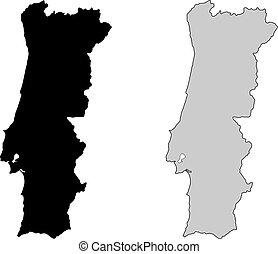 portogallo, projection., map., nero, white., mercator