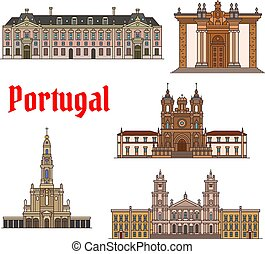 portoghese, set, viaggiare, magro, punto di riferimento, linea, icona