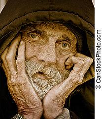 portrait-homeless, malinconico, uomo