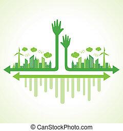 porzione, concetto, ecologia, mano
