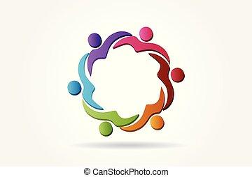 porzione, logotipo, squadra, vettore, persone