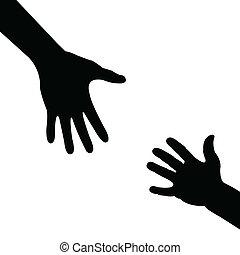 porzione, silhouette, mano