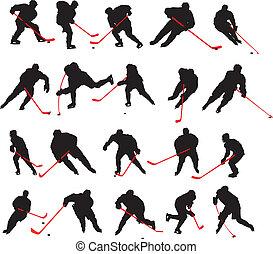 pose, 20, dettaglio, hockey ghiaccio