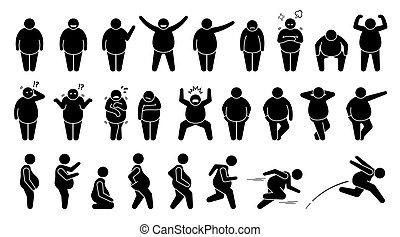 pose, fondamentale, figura, pictogram., uomo, pose, grasso, sovrappeso, bastone, carattere