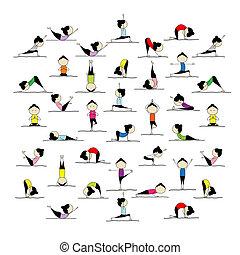 pose, persone, yoga, tuo, attivo, disegno, 25