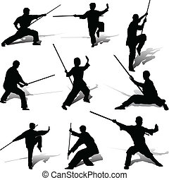 pose, suo, kung-fu, personale
