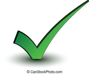 positivo, checkmark, vettore, verde