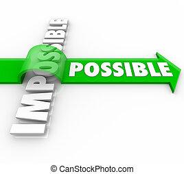 positivo, sopra, possibile, atteggiamento, saltare, freccia, impossibile
