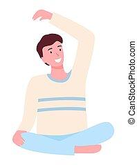 posizione loto, seduta, giovane, isolato, maschio, fondo., bianco, yoga, pavimento, uomo