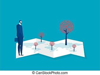 posizione, vector., persone, ricerca, marketing, affari