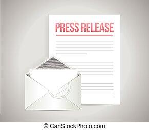 posta, messaggio, premere, rilascio