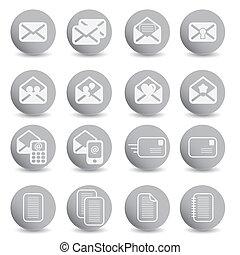 posta, set, icone