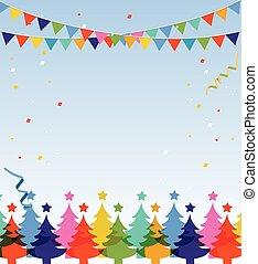 postcard., allegro, anno, nuovo, natale, felice