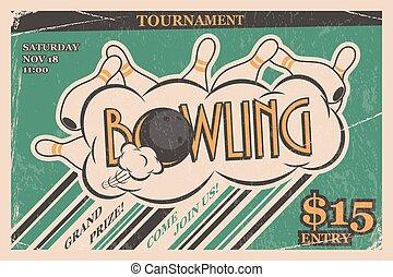 poster., illustration., vendemmia, concept., torneo, invito, vettore, disegno, retro, manifesto, sciopero, bowling