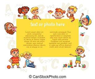 poster., sagoma, pubblicità, presa a terra, vuoto, opuscolo, bambini, felice