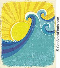 poster., vendemmia, struttura, carta, illustrazione, mare, onde, vecchio, paesaggio