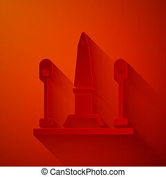 posto, fondo., de, parigi, la, rosso, isolato, vettore, carta, francia, concorde, taglio, arte, style., icona