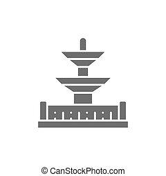 posto, icon., punto di riferimento, parigi, de, la, concorde, fontane, grigio, francia
