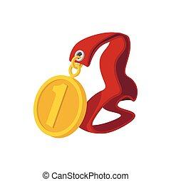 posto, nastro, primo, medaglia, cartone animato, rosso, icona