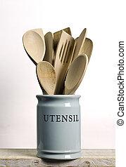 pot;, legno, mensola, cottura, magazzino, isolato, ecc, porcellana, utensils;, spatole, cucina