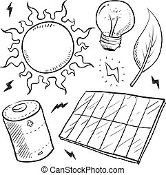 potere, solare, schizzo, oggetti