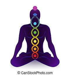 potere, uomo, kundalini, simbolo, risveglio, serpente, chakras
