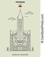 potsdam, chiesa, germany., paul, punto di riferimento, pietro, icona, st.