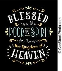 povero, benedetto, iscrizione, manifesto, mano, spirito