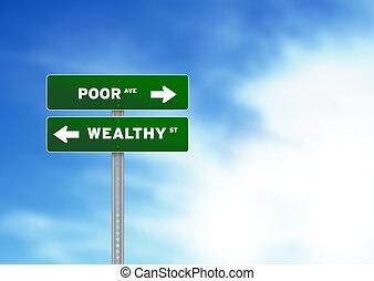 povero, ricco, segno strada