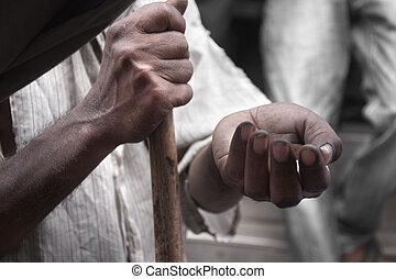 povero, soldi, elemosinare, uomo, strada, mani