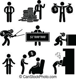 povero, uomo, pictogram, ricco, persone