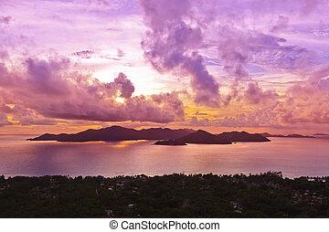 praslin, isola, seychelles, tramonto