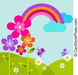 prato, arcobaleno, farfalla, fiori, verde