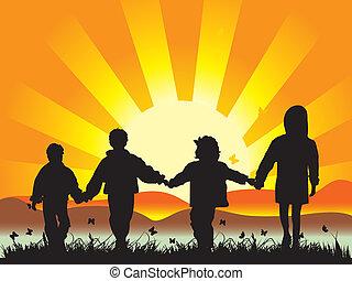 prato, bambini, accomunato, passeggiata, mani, detenere, felice