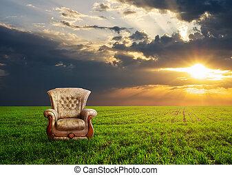 prato, sedia, verde