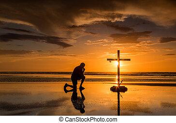 prayful, tramonto, croce