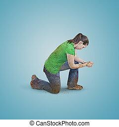 praying., donna, sporco