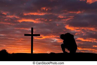 pregare, croce, uomo