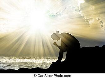 pregare, dio, donna, tramonto