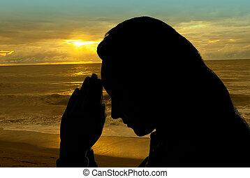 pregare, donna, fuori