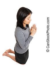 pregare, donna inginocchiandosi, affari