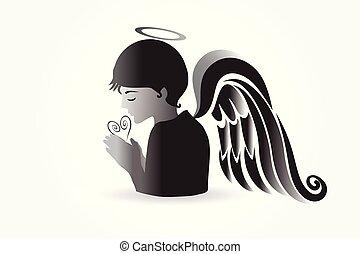 pregare, logotipo, vettore, angelo