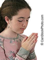 pregare, ragazza, 2