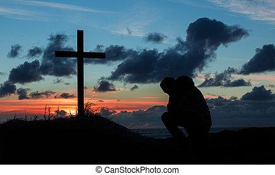 pregare, sunsetting, croce, uomo