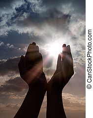 preghiera, mani, sole