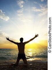 preghiera, persona, dio, adorare
