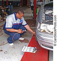 premere, auto, compiendo, meccanico, pneumatico