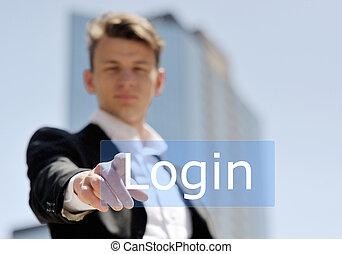 premere, uomo affari, login, bottone, virtuale