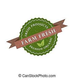 premio, fattoria, prodotto, illustrazione, vettore, organico, icon., fresco